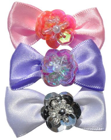 Satin dog hair bows with flower jewel detail