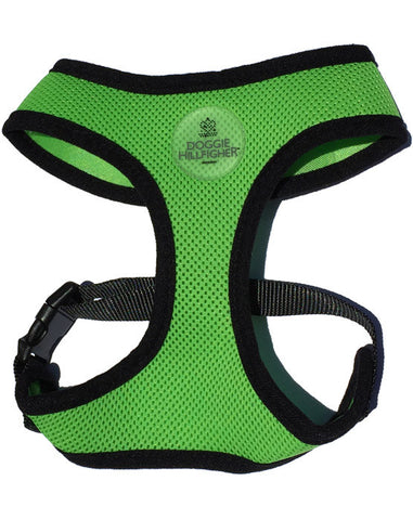Lime Dog Harness with black binding and Doggie Hillfigher rubber badge