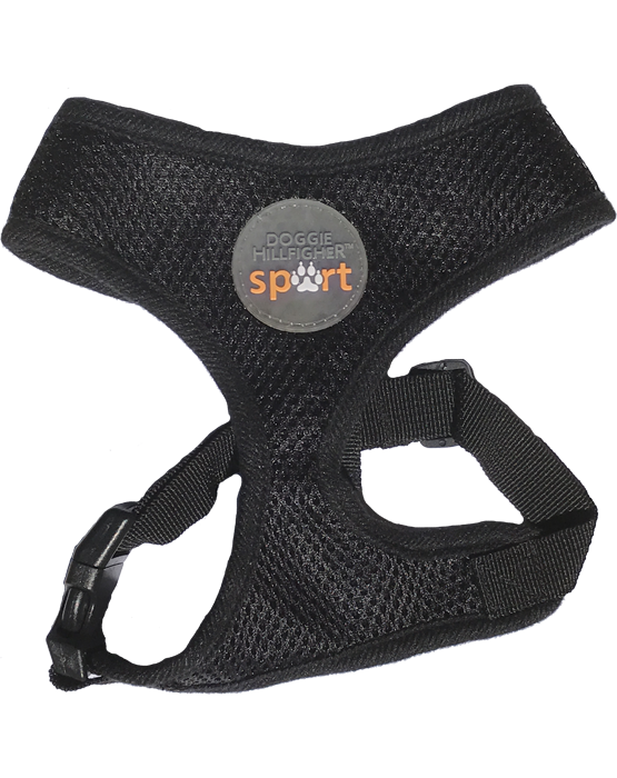 Black soft mesh harness