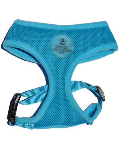 Blue soft dog harness with Doggie Hillfigher rubber badge and matching nylon lead