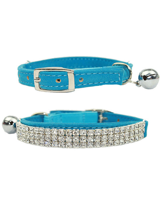 Blue velvet dog & cat collar with rows of diamantes, safety elastic & bell