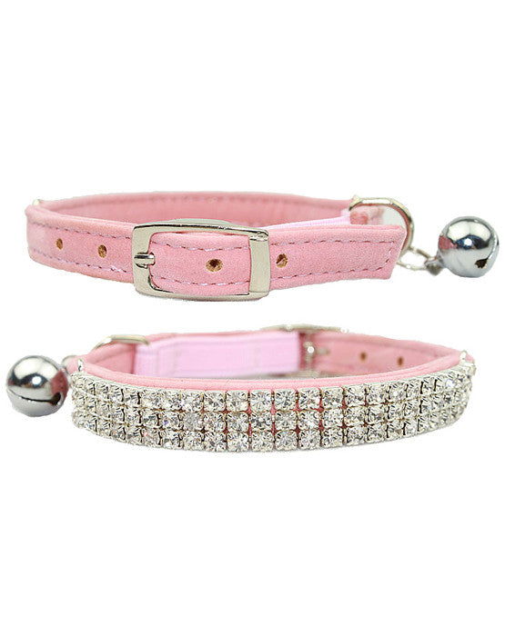 Pink velvet dog & cat collar with rows of diamantes, safety elastic & bell