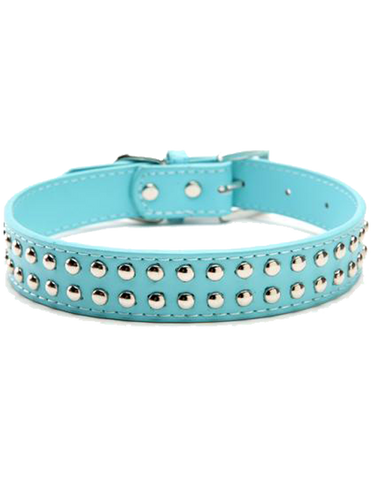Blue leather stud dog collar