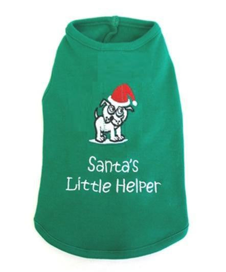 Green dog tshirt with Santa's Little Helper & Cigar Smoking Dog printed on the back
