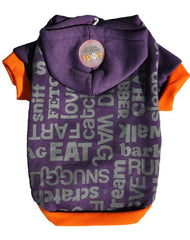 Purple dog hoodie with orange trimmings and silver words printed on the back with a Doggie Hillfigher rubber badge on the hoodie