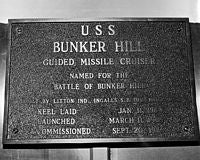 A historical plaque aboard the guided missile cruiser USS BUNKER HILL (CG-52). - 1986