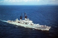 A starboard bow view of the guided missile cruiser USS DALE (CG-19) underway off the coast of Puerto Rico, 09/14/1990