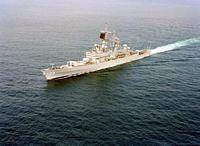 A port bow view of the guided missile cruiser USS ENGLAND (CG 22) underway. - 1992