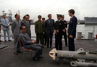 Vice Premier Geng Biao, People's Republic of China, and part of his delegation are given a briefing and a tour of the guided missile cruiser USS FOX (CG-33). - 1980 San Diego, CA