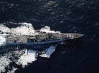 An overhead view of the guided missile cruiser USS FOX (CG 33) underway off the coast of San Diego, California. - 1984