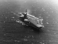 An aerial view, port bow, of the USS FRANKLIN D. ROOSEVELT (CVA 42) while underway in the Mediterranean Sea. Exact date shot unknown, shot somewhere between January 2, 1970 through July 28, 1971.
