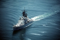A port bow view of the guided missile cruiser USS YARNELL (CG-17) underway, 05/01/1990