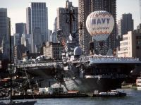 A view of the ex-USS INTREPID (CV-11), now a permanent memorial, during the 100th anniversary celebration of the Statue of Liberty.  <br>1986