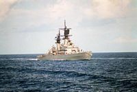 A starboard bow view of the guided missile cruiser USS JOUETT (CG-29) underway north of Diego Garcia en route to the Persian Gulf after the invasion of Kuwait by Iraqi forces.  - 1990