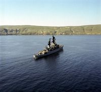 An aerial starboard quarter view of the guided missile cruiser USS JOUETT (CG 29) underway near San Clemente Island. - 1976