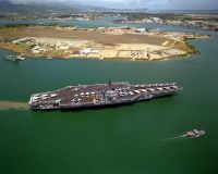 The RANGER is stopping off at Pearl Harbor while en route to its home port after returning from deployment in the Persian Gulf during Operation Desert Storm.