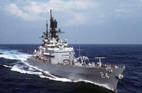 An aerial starboard bow view of the Leahy Class guided missile cruiser USS REEVES (CG-24 underway. - 1984