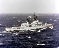 A starboard quarter view of the guided missile cruiser USS STERRETT (CG-31) underway.<br>-1988