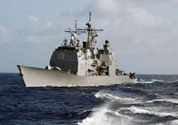 A port bow view of the US Navy (USN) Ticonderoga Class: Guided Missile Cruiser (Aegis), USS THOMAS S. GATES (CG 51), underway in the Caribbean Sea during Exercise UNITAS 46-05. The Exercise is a Southern Command sponsored Exercise with the objective of increasing interoperability and fostering cooperation among naval forces in the region. - 2005
