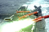 A US Navy (USN) BQM-74E Aerial Target Drone is launched from the flight deck of the Ticonderoga Class Guided Missile Cruiser (Aegis), USS THOMAS S. GATES (CG 51) while the ship is underway in the Pacific Ocean, conducting operations in support of Exercise UNITAS 45-04. Naval forces from Argentina, Chile, Colombia, Ecuador, Peru and observers from Mexico and Canada are participating in UNITAS 45-04, the premier naval exercise in the region, which is conducted under the direction of Commander US Naval Forces Southern Command and hosted this year by the Peruvian Navy. UNITAS is designed to develop interoperability among the participating navies while increasing readiness and providing the training in a high-tech environment. - 2004