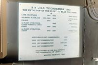 A view of the historical data plaque for the guided missile cruiser USS TICONDEROGA (CG-47). - 1983