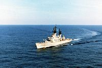 A port bow view of the guided missile cruiser USS WILLIAM H. STANDLEY (CG-32) underway. - 1990