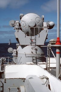 A rear view of the SPG-55B fire control radar aboard the guided missile cruiser USS WORDEN (CG 18). The ship is participating in a midshipmen's summer training cruise, 07/01/1986