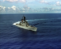 A starboard bow view of the guided missile cruiser USS WORDEN (CG 18) underway, 08/01/1987