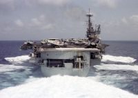 The conventional aircraft carrier USS INDEPENDENCE (CV 62) accelerates to 30 knots in her transit home to Yokosuka, Japan. The INDEPENDENCE is returning from a scheduled six month deployment to the Persian Gulf in support of Operation SOUTHERN WATCH, 26 May 1998.