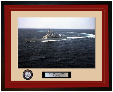USS MISSISSIPPI CGN-40 Framed Navy Ship Photo Burgundy