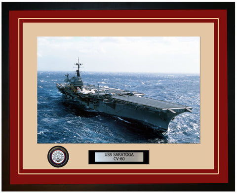 USS SARATOGA CV-60 Framed Navy Ship Photo Burgundy