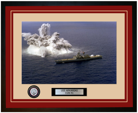USS ARKANSAS CGN-41 Framed Navy Ship Photo Burgundy