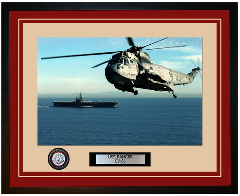 USS RANGER CV-61 Framed Navy Ship Photo Burgundy