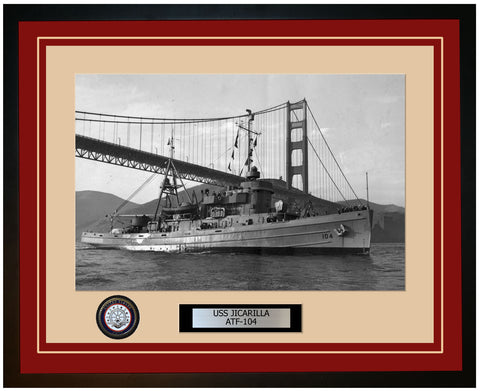 USS JICARILLA ATF-104 Framed Navy Ship Photo Burgundy