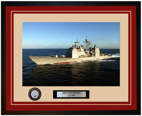 USS VINCENNES CG-49 Framed Navy Ship Photo Burgundy
