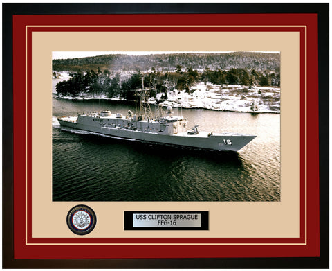USS CLIFTON SPRAGUE FFG-16 Framed Navy Ship Photo Burgundy