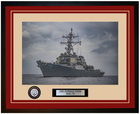 USS DONALD COOK DDG-75 Framed Navy Ship Photo Burgundy