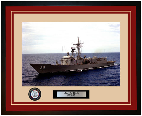 USS FAHRION FFG-22 Framed Navy Ship Photo Burgundy
