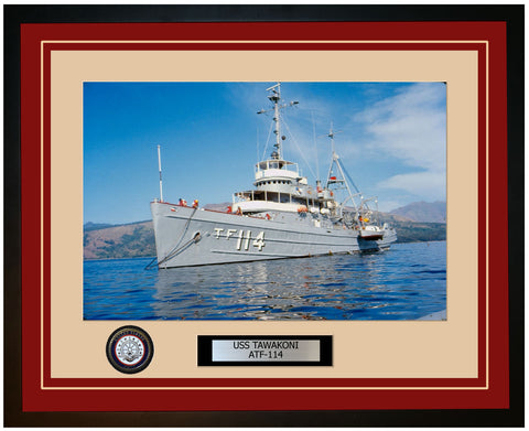 USS TAWAKONI ATF-114 Framed Navy Ship Photo Burgundy