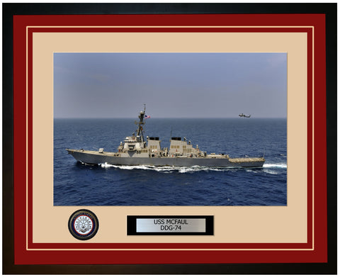 USS MCFAUL DDG-74 Framed Navy Ship Photo Burgundy