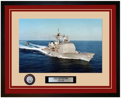 USS ANTIETAM CG-54 Framed Navy Ship Photo Burgundy