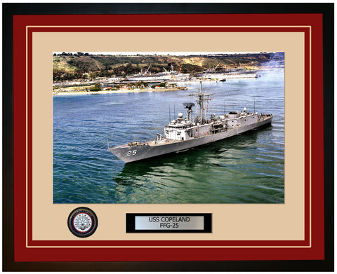 USS COPELAND FFG-25 Framed Navy Ship Photo Burgundy