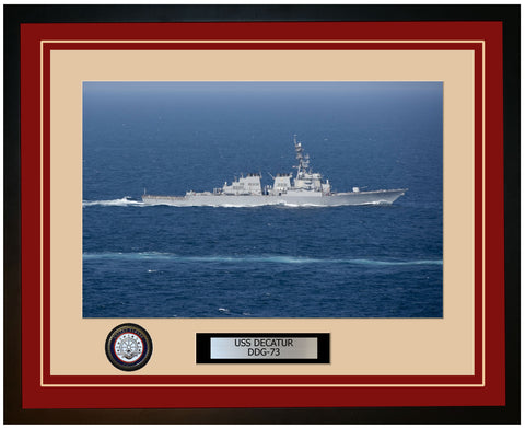USS DECATUR DDG-73 Framed Navy Ship Photo Burgundy