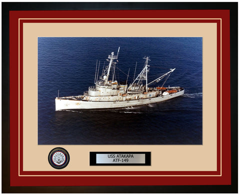USS ATAKAPA ATF-149 Framed Navy Ship Photo Burgundy