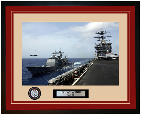 USS SAN JACINTO CG-56 Framed Navy Ship Photo Burgundy