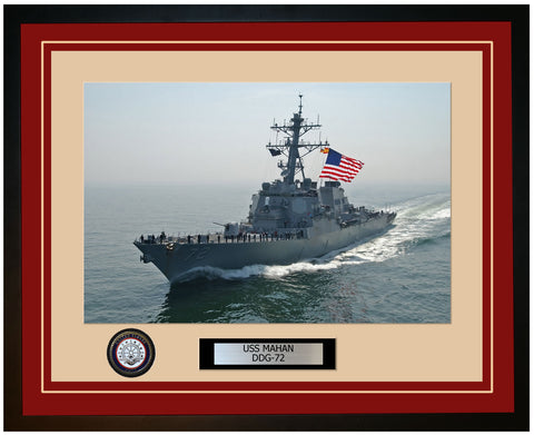 USS MAHAN DDG-72 Framed Navy Ship Photo Burgundy