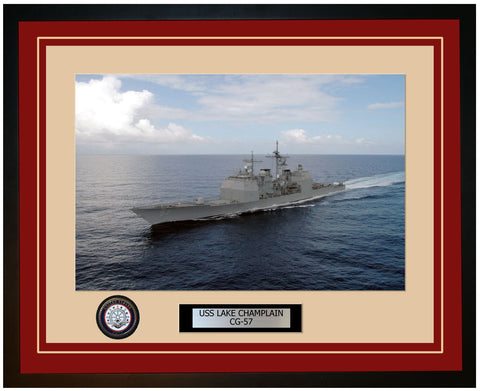 USS LAKE CHAMPLAIN CG-57 Framed Navy Ship Photo Burgundy