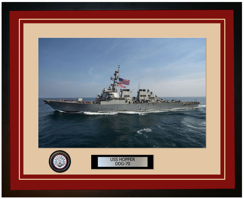 USS HOPPER DDG-70 Framed Navy Ship Photo Burgundy