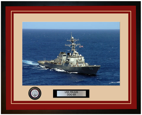 USS MILIUS DDG-69 Framed Navy Ship Photo Burgundy