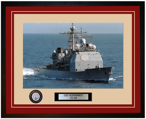 USS NORMANDY CG-60 Framed Navy Ship Photo Burgundy
